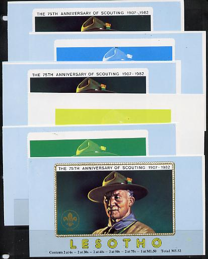 Booklet - Lesotho 1982 Baden Powell Scout Anniversary booklet x 6 progressive proofs of front cover comprising various individual or combination composites incl completed design (both sides), very scarce