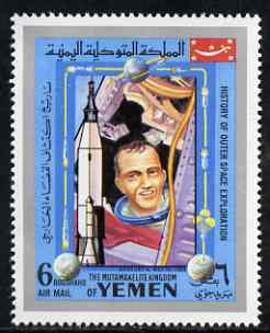Yemen - Royalist 1969 Mercury 9 from History of Outer Space set, unmounted mint Mi 871*