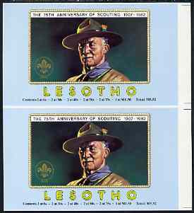 Booklet - Lesotho 1982 Baden Powell Scout Anniversary imperf booklet front cover proof pair (size 7 x 8)