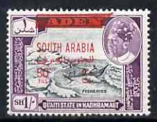 Aden - Qu'aiti 1966 Fisheries New Currency 50f on 1s unmounted mint, SG 60*