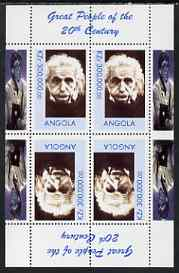 Angola 1999 Great People of the 20th Century - Albert Einstein (portrait) perf sheetlet of 4 (2 tete-beche pairs with the Bill Gates in margin) unmounted mint