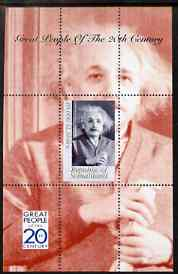 Somaliland 1999 Great People of the 20th Century - Albert Einstein perf souvenir sheet containing 10,000 sl value unmounted mint, stamps on personalities, stamps on science, stamps on physics, stamps on nobel, stamps on einstein, stamps on maths, stamps on space, stamps on judaica, stamps on millennium, stamps on personalities, stamps on einstein, stamps on science, stamps on physics, stamps on nobel, stamps on maths, stamps on space, stamps on judaica, stamps on atomics