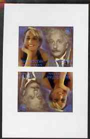 Kyrgyzstan 2000 Twentieth Century Icons - Princess Di & Einstein imperf sheetlet of 4 (tete-beche se-tenant pair) unmounted mint