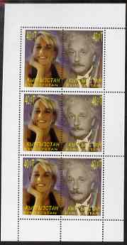 Kyrgyzstan 2000 Twentieth Century Icons - Princess Di & Einstein perf sheetlet containing 3 se-tenant pairs, unmounted mint