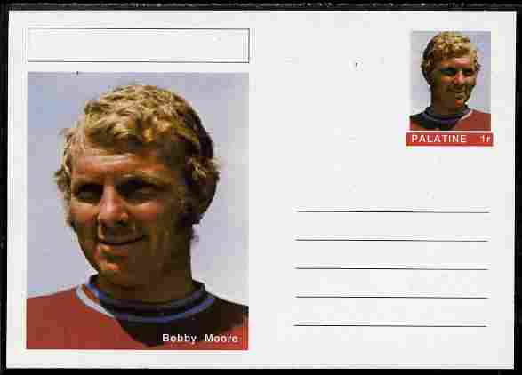 Palatine (Fantasy) Personalities - Bobby Moore (football) postal stationery card unused and fine, stamps on personalities, stamps on football