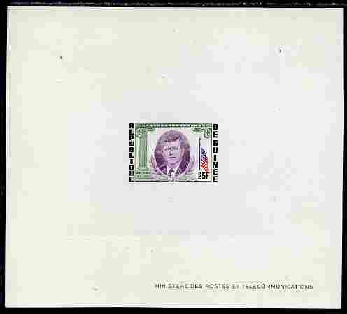Guinea - Conakry 1964 Kennedy Memorial 25f imperf deluxe sheet in issued colours on sunken glazed card, some minor imperfections