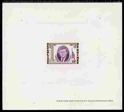 Guinea - Conakry 1964 Kennedy Memorial 50f imperf deluxe sheet in issued colours on sunken glazed card, some minor imperfections