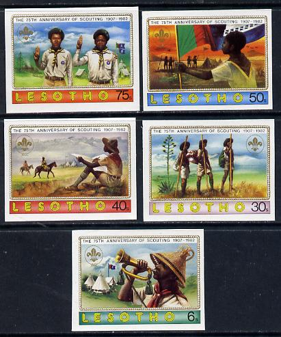 Lesotho 1982 75th Anniversary of Scouting set of 5 in unmounted mint imperf singles (SG 474-8)