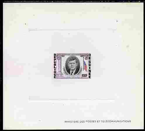Guinea - Conakry 1964 Kennedy Memorial 100f imperf deluxe sheet in issued colours on sunken glazed card, some minor imperfections