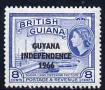 Guyana 1966 Sugar Cane 8c with Independence opt (De La Rue opt on Script CA wmk) unmounted mint, SG 382