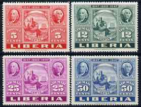 Liberia 1947 US Stamp Centenary perf set of 4 unmounted mint, SG 657-60