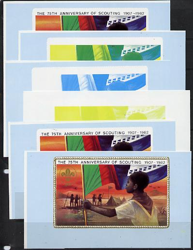 Booklet - Lesotho 1982 Scout with Flag booklet x 6 progressive proofs of back cover comprising various individual or combination composites incl completed design (both sides), very scarce