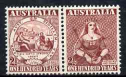 Australia 1950 Stamp Centenary perf se-tenant pair unmounted mint, SG 239a