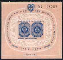 Colombia 1959 Centenary of First Extra Rapido Stamp imperf m/sheet unmounted mint, SG MS 997