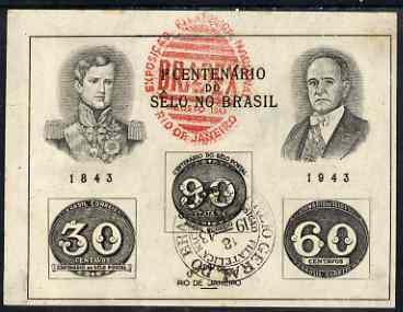 Brazil 1943 Stamp Centenary imperf m/sheet fine used, SG MS 682a