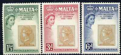 Malta 1960 Stamp Centenary perf set of 3 unmounted mint, SG 301-03