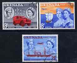 Grenada 1961 Stamp Centenary perf set of 3 very fine used, SG 208-10