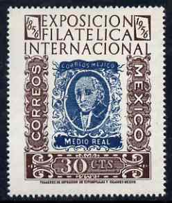 Mexico 1956 Philatelic Centenary Exhibition 30c unmounted mint, SG 944