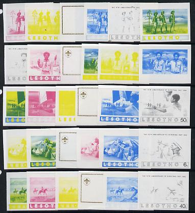Lesotho 1982 75th Anniversary of Scouting set of 5 each x 6 imperf progressive proofs comprising the 5 individual  colours plus yellow & blue composites, extremely rare (30 proofs)
