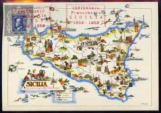Italy 1959 Sicilian Stamp Centenary label on postcard map with special cachet