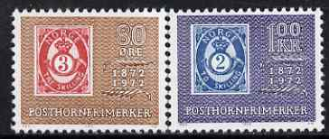Norway 1972 Centenary of 'Posthorn' Stamp perf set of 2 unmounted mint, SG 1677-78*