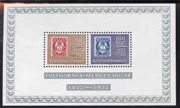 Norway 1972 Centenary of 'Posthorn' Stamp perf m/sheet unmounted mint, SG MS 679