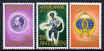 Netherlands Antilles 1973 Stamp Centenary perf set of 3 unmounted mint, SG 569-71