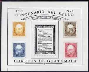 Guatemala 1971 Stamp Centenary imperf m/sheet unmounted mint, SG MS 908