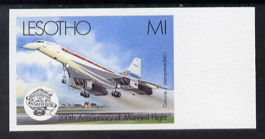 Lesotho 1983 Manned Flight 1m (Concorde) imperf marginal single (SG 548var) blocks or pairs available price pro rata