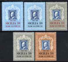 Cinderella - Italy 1959 Sicilia '59 Stamp Centenary Exhibition set of 5 rouletted labels  (Stamp on Stamp) unmounted mint*