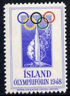 Cinderella - Iceland 1948 Olympic Games perforated label unmounted mint produced by Waterlow & Sons