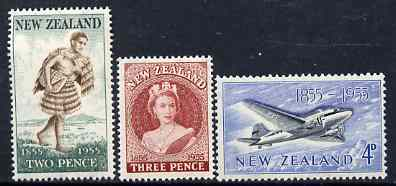 New Zealand 1955 Stamp Centenary perf set of 3 unmounted mint, SG 739-41*
