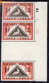 South Africa 1953 Stamp Centenary 1d gutter strip of 3, one stamp with 'dot between 5 and 3' and one with 'flaw on 5' unmounted mint, SG 144var, stamps on stamp centenary, stamps on stamp on stamp, stamps on triangulars, stamps on stamponstamp