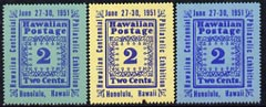 Cinderella - Hawaii 1951 Stamp Centenary Exhibition perf set of 3 labels unmounted mint