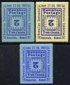 Cinderella - Hawaii 1951 Stamp Centenary Exhibition perf set of 3 labels each with centre (value) inverted, unmounted mint