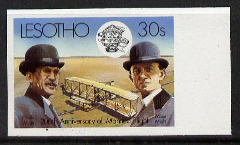 Lesotho 1983 Manned Flight 30s (Wright Brothers & Flyer) imperf marginal single (SG 546var) blocks, pairs & gutter pairs available price pro rata