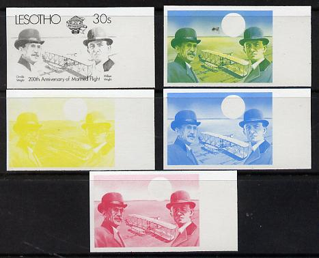 Lesotho 1983 Manned Flight 30s (Wright Brothers & Flyer) x 5 imperf progressive colour proofs comprising the 4 individual colours plus 2-colour composite (as SG 546) gutter pairs available price x 2