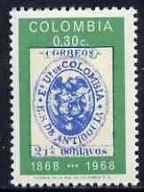 Colombia 1965 Centenary of First Antioquia Stamps 30c unmounted mint, SG 1234