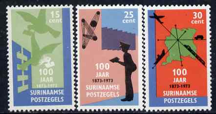 Surinam 1973 Stamp Centenary perf set of 3 unmounted mint, SG 762-64