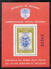 Colombia 1965 Centenary of First Antioquia Stamps perf m/sheet unmounted mint (from numbered limited printing), SG MS 1235