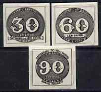 Brazil 1943 Stamp Centenary imperf set of 3 (Bull's Eye) unmounted mint, SG 680-82