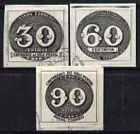 Brazil 1943 Stamp Centenary imperf set of 3 (Bull's Eye) fine used, SG 680-82