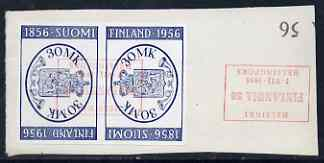 Finland 1956 Stamp Centenary & Exhibition tete-beche pair fine used, SG 560a