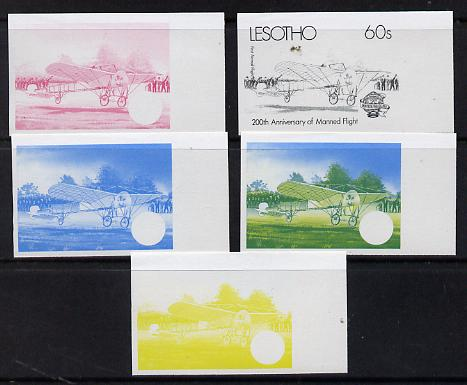 Lesotho 1983 Manned Flight 60s (First Airmail Flight) x 5 imperf progressive colour proofs comprising the 4 individual colours plus 2-colour composite (as SG 547) gutter pairs available price x 2