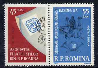 Rumania 1962 Stamp Day & Stamp Centenary se-tenant pair unmounted mint, SG 2983