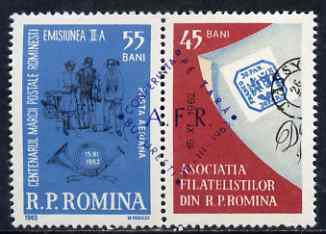 Rumania 1962 Stamp Day & Stamp Centenary se-tenant pair with special cancel, SG 2983