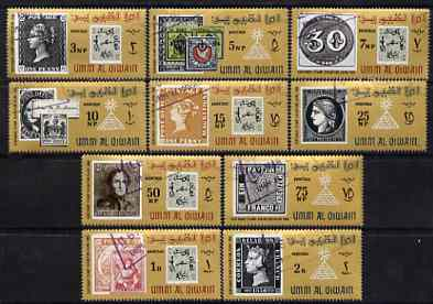 Umm Al Qiwain 1966 Stamp Centenary Exhibition (Stamp on Stamp) perf set of 10 cto used, Mi 55-64, SG 49-58