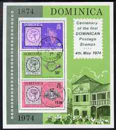 Dominica 1974 Stamp Centenary perf m/sheet fine used, SG MS 421