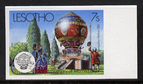 Lesotho 1983 Manned Flight 7s (Montgolfer Balloon) imperf marginal single (SG 545var) blocks, pairs & gutter pairs available price pro rata