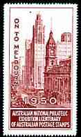Australia 1950 National Philatelic Exhibition & Centenary perf label in red inscribed 'On to Melbourne', minor wrinkles but unmounted mint*